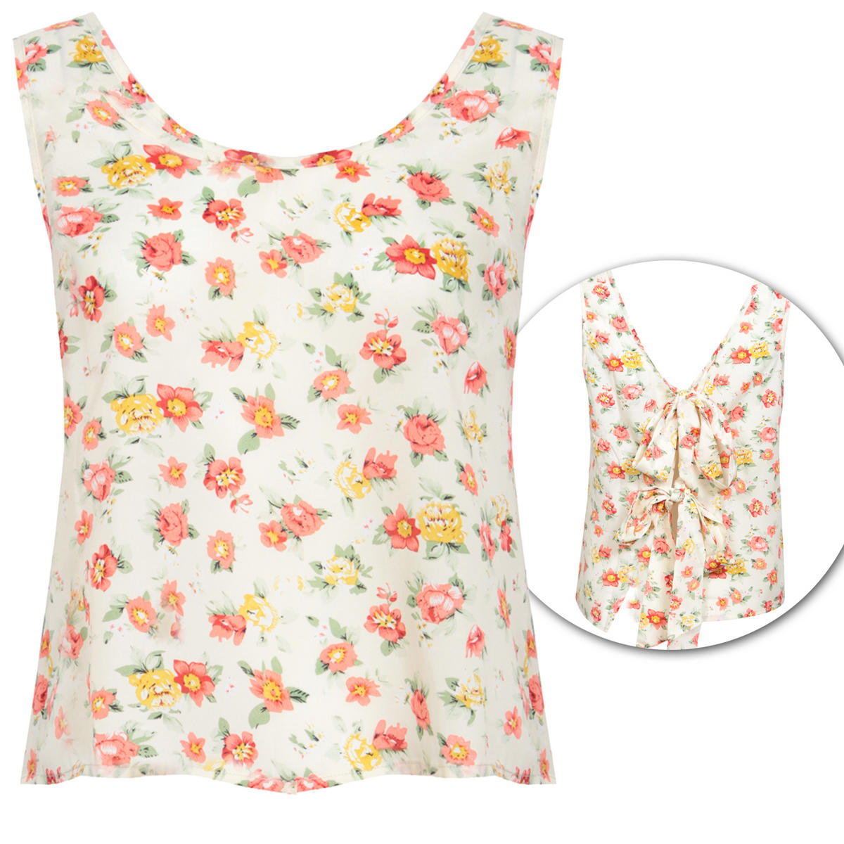 Floral Print Tie Back Vest Top Preview